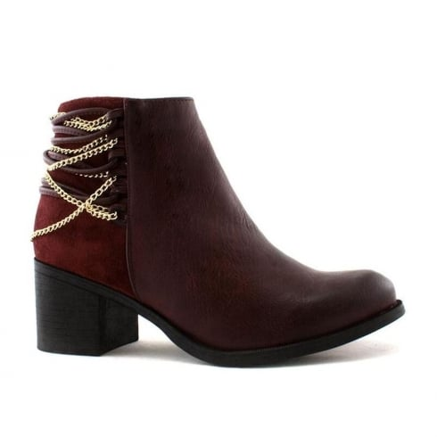Escape Dover Burgundy Chain Strap Heeled Ankle Boots