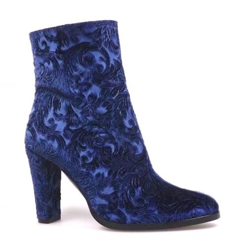 Perlato Blue Velvet Block Heeled Ankle Embroidered Boots