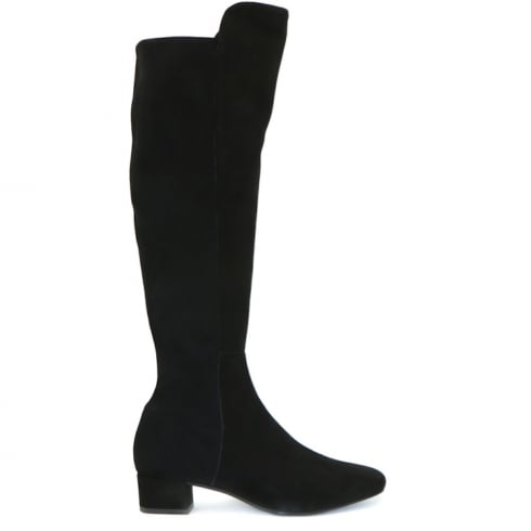 Perlato Black Nubuck Over the Knee Boots