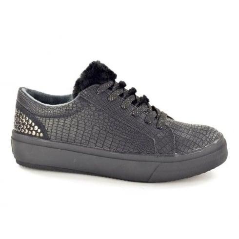 Fabulous Fabs Womens Black Furry Top Sneaker