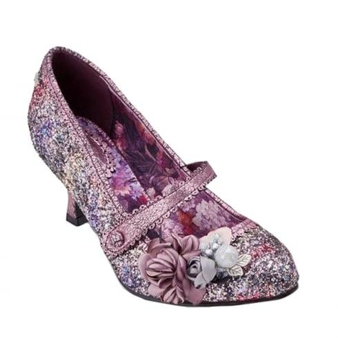 Joe Browns Marietta Purple Floral Glitter Heeled Shoe