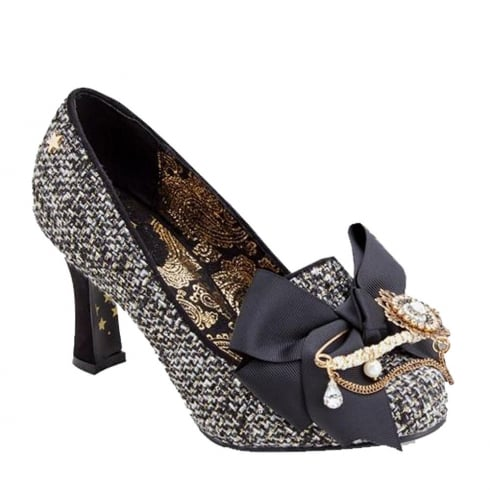 Joe Browns Black/Gold Tweedy Retro Regal Heeled Shoe