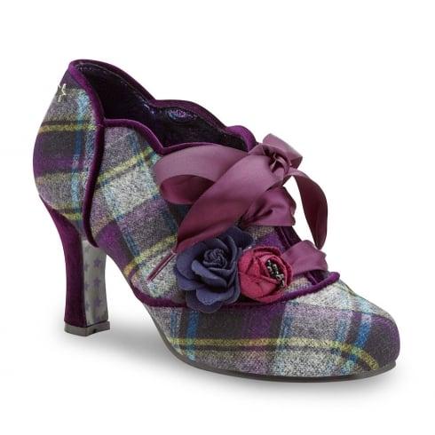 Joe Browns Yazzabelle Purple Ribbon Retro Tweed Shoeboot