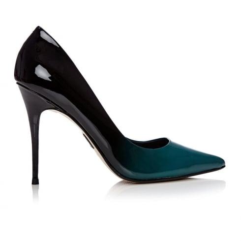 Moda In Pelle CRISTINI Patent Teal Ombre Leather Court Shoe