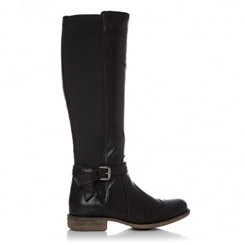 Moda In Pelle Jalisa Black Leather Brogue Knee High Flat Boots