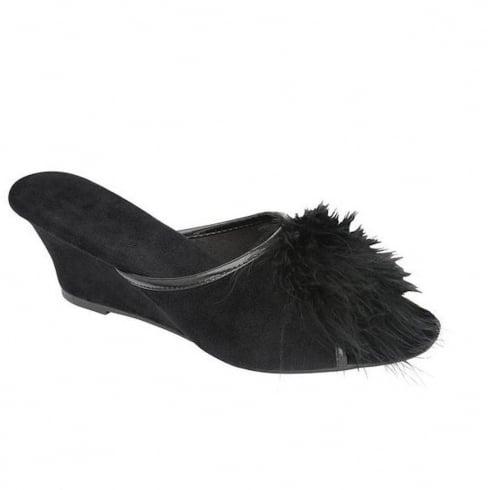 Dunlop Women's Marilyn Black Wedge Heel Mule Slippers