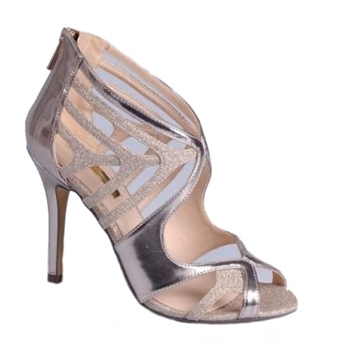 Glamour Ladies Gold Glitter Metallic Strap High Heeled Sandal – ET701