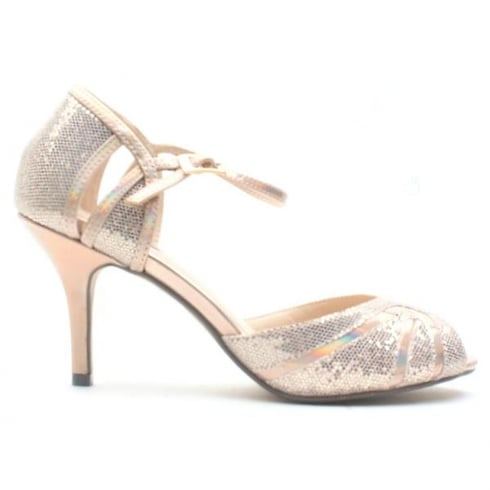 Glamour Rose Gold Glitter Peep Toe Med High Stiletto Sandal - ET720