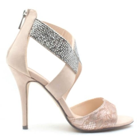 Glamour Womens Glamour High Heel Nude Cross Over Sandals