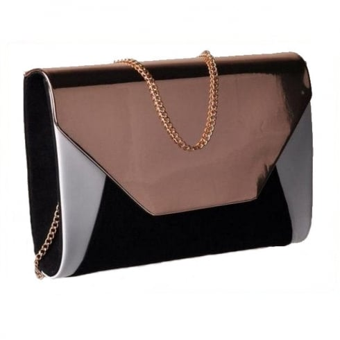 Glamour Black Rose Gold Clutch Bag - ET705B