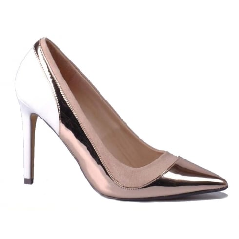 Glamour Womens Glamour Rose Gold & White Pointed Courts