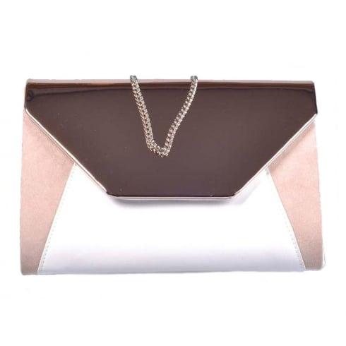 Glamour Rose Gold White Clutch Bag - ET706B