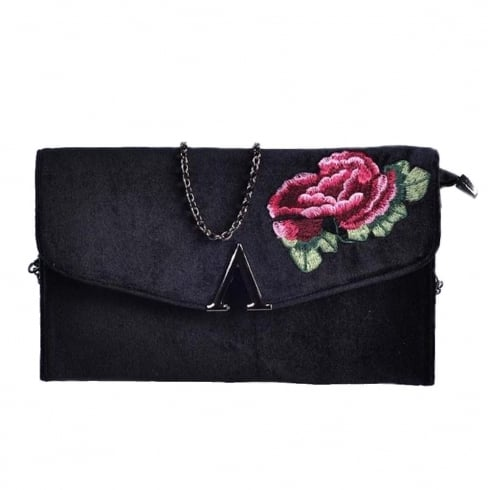 Glamour Black Velvet Flower Clutch Bag