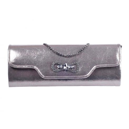 Glamour Silver/Pewter Diamond Stones Buckle Clutch Bag