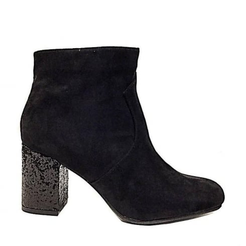 Sprox Ladies Black Suede Sparkle Heel Boots