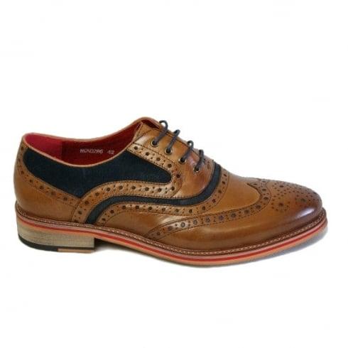 Morgan & Co Men's Tan/Navy Leather Tie Brogue Shoe 0286