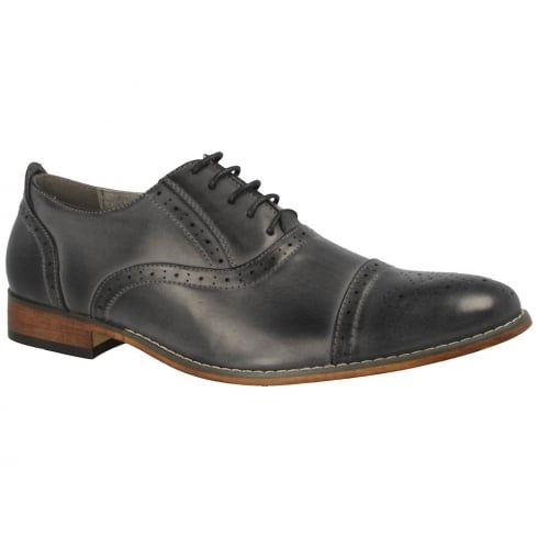 Goor Men's Punched Semi Brogue Style Grey Shoes - 172
