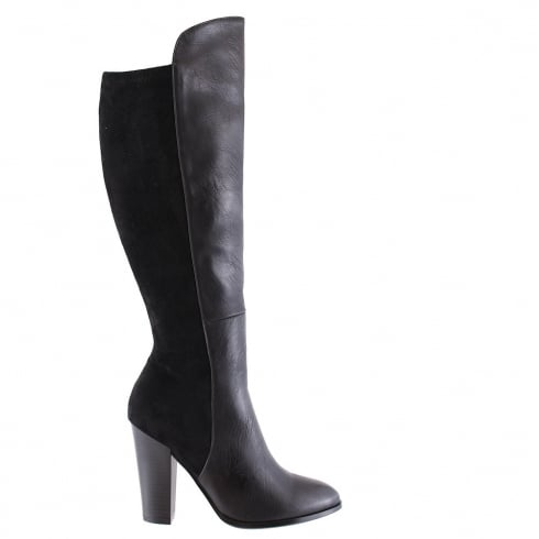 Susst Mariah Black Knee High Heeled Boots