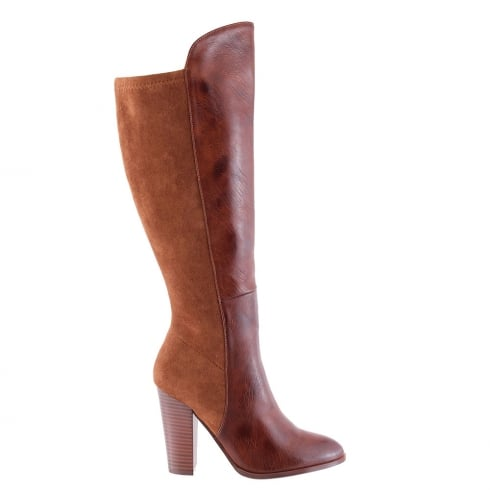 Susst Mariah Dark Tan Knee High Heeled Boots