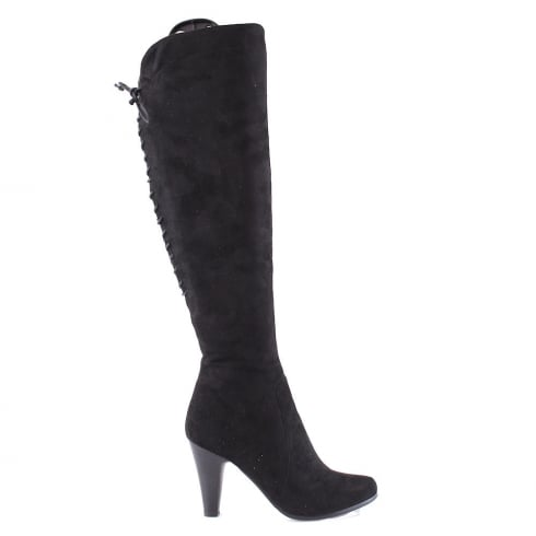 Susst Kia Black Over Knee High Heeled Boots
