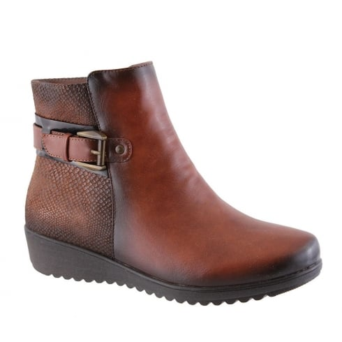 Susst Dido Tan Wedge Ankle Boots