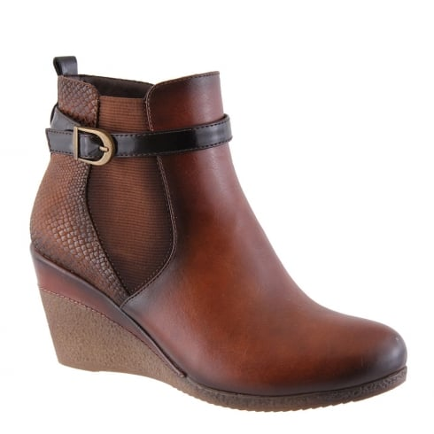 Susst Ashs Tan Wedge Heeled Ankle Boots