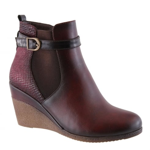 Susst Ashs Wine Wedge Heeled Ankle Boots