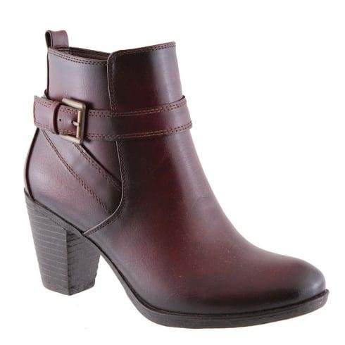Susst Ellen Wine Ankle Block Heel Boot