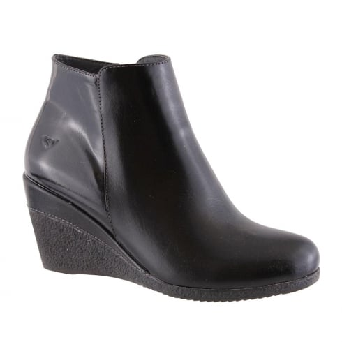 Susst Blake Black Combi Wedge Heeled Ankle Boots