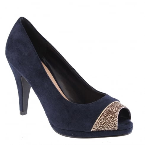 Barino Navy Suede Gold Peep Toe Platform Court Shoe