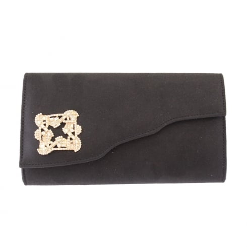 Barino Womens Black Brooch Clutch Bag
