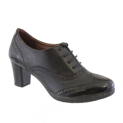 Susst Helena Black Lace Up Block Heeled Brogue Shoe