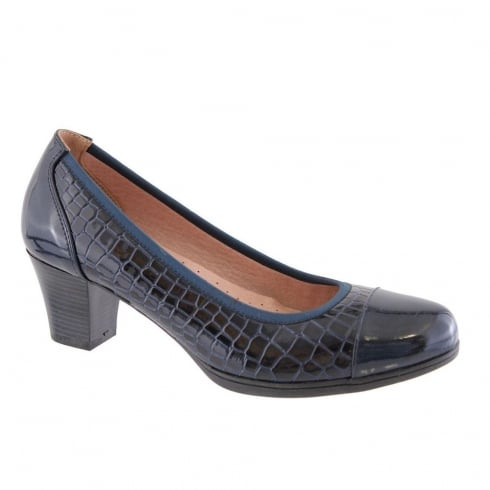 Susst Judith Navy Crocodile Style Low Heeled Pumps