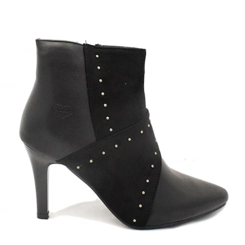 Fabulous Fabs Black Leather Stud High Heeled Shoe Boot