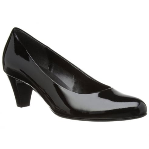 Gabor Black Patent Low Heeled Court