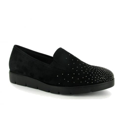 Gabor Womens Black Suede Diamante Slip On Shoes