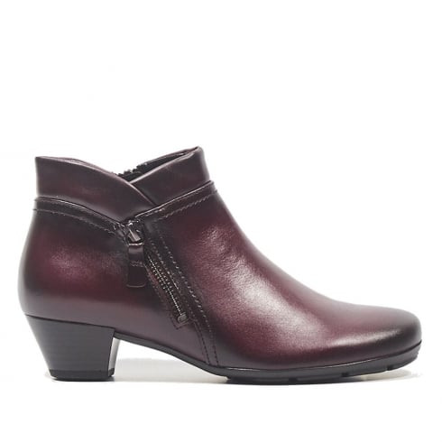 Gabor Wine Leather Low Heel Ankle Boots