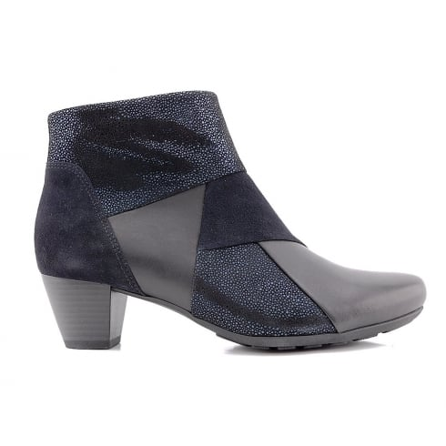 Gabor Blue Leather Combi Low Heel Ankle Boots
