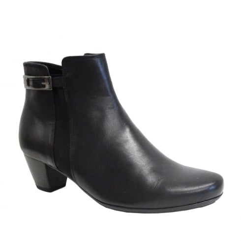 Gabor Black Leather Buckle Low Heel Ankle Boot