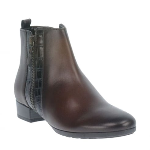 Gabor Comfort Brown Leather Ankle Boots