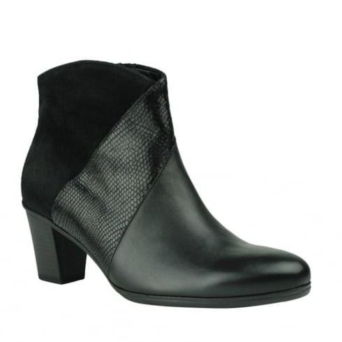 Gabor Black Suede/Leather Heeled Ankle Boots