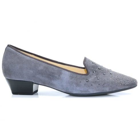 Gabor Grey Suede Studded Pointed Low Heel Pumps