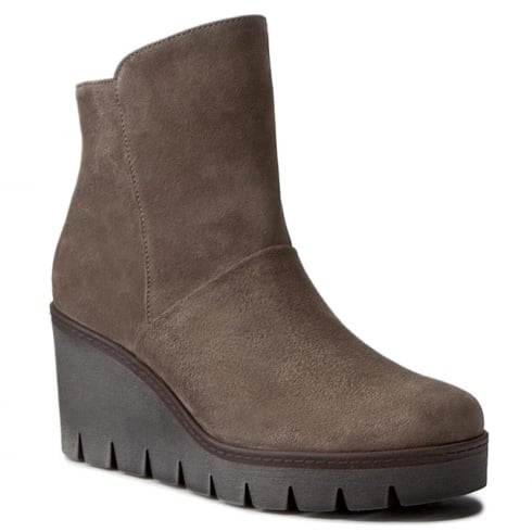 Gabor Brown Suede Wedge Heeled Hi Ankle Boots