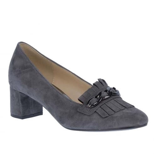 Gabor Fashion Grey Suede Heeled Loafer Pumps