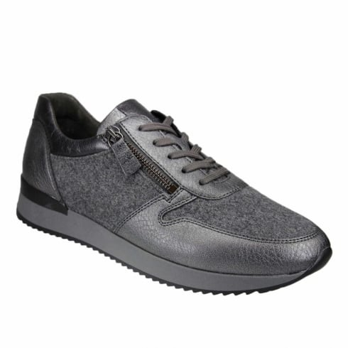 Gabor Womens Grey Woolen Leather Lace Up Sneaker Shoes