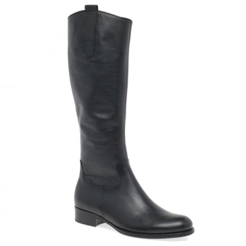 Gabor Black Leather Flat Knee High XS Calf Riding Boots
