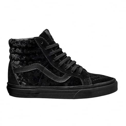 Vans Womens Black Velvet SK8-Hi Reissue Zip Sneakers