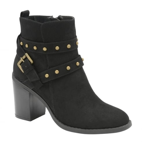 Dolcis Piper Black Suede Gold Studded Ankle Heeled Boots