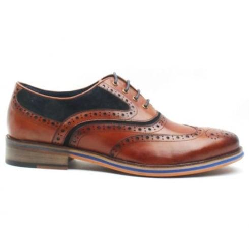 Morgan & Co Men's Tan/Navy Suede Leather Brogue Shoe 0616