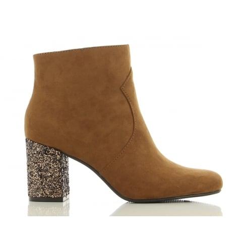 Sprox Ladies Tan Suedette Glitter Heel Boot